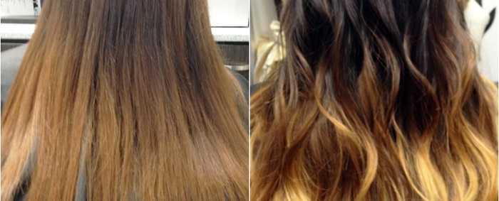 Омбре волос до и после