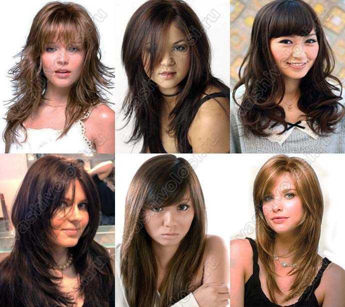 Прически для круглого лица для длинных волос