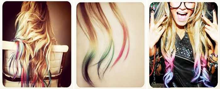 Как покрасить кончики волос в яркий цвет