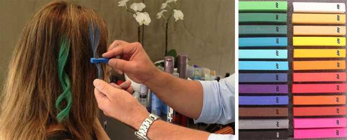 Как покрасить волосы мелками