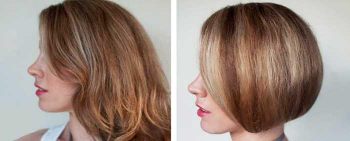 Имитация короткой стрижки на длинные волосы