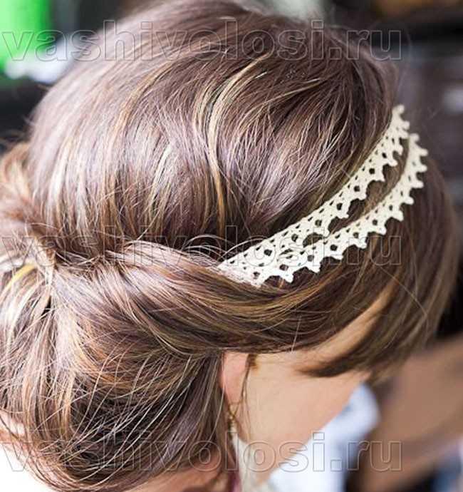 Свадебная прическа на средние волосы с фатой