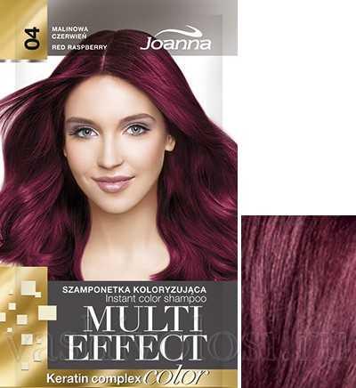 """оттеночный шампунь Joanna """"Multi Effect Color"""" 4 оттенок """"Красная малина"""""""