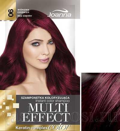 """оттеночный шампунь Joanna """"Multi Effect Color"""" 6 оттенок """"Вишнево-красный"""""""