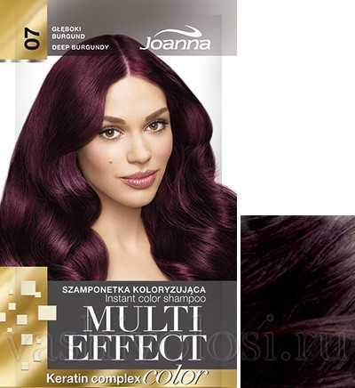 """оттеночный шампунь Joanna """"Multi Effect Color"""" 7 оттенок """"Глубокий бордовый"""""""