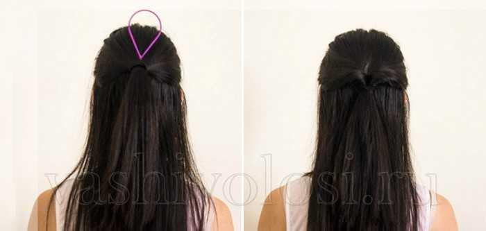 Петля для волос - Высокий хвост из половины волос
