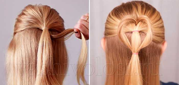 Петля для волос - романтическое сердечко из волос