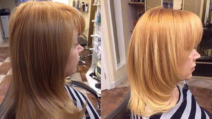 Волосы до и после стрижки горячими ножницами - фото: