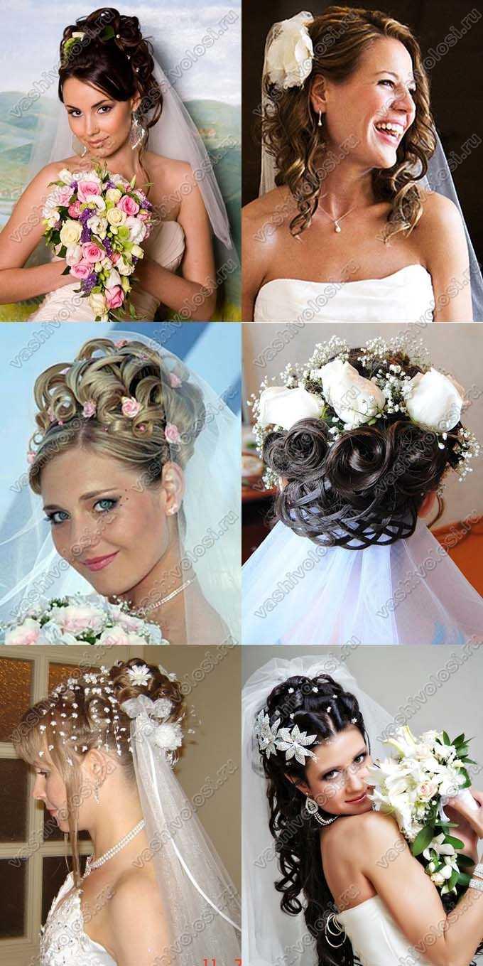 Убранные свадебные прически с фатой фото