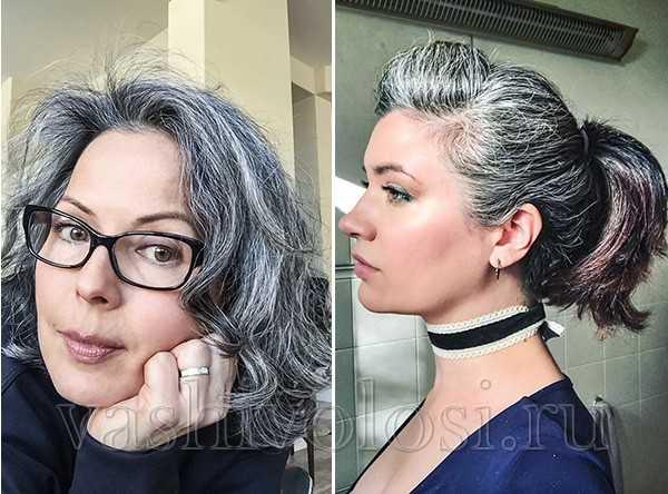 женщины с красивыми седыми волосами