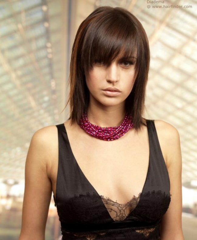 стрижки прически на средние волосы с челкой